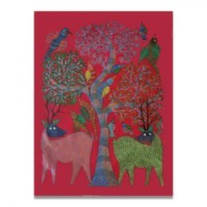 Deer and Birds Gond Painting