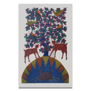 Deer and mother nature tribal painting