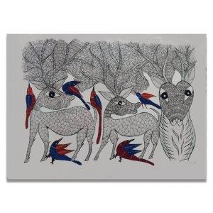 Deer family and Birds Gond Art