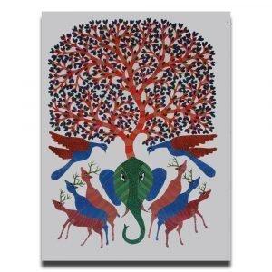 Elephant Deer and Birds Animal Painting