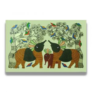 Elephant Family in the wild painting