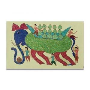 Elephant carrying water pithora art