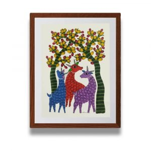 Family of Deer Paper Painting
