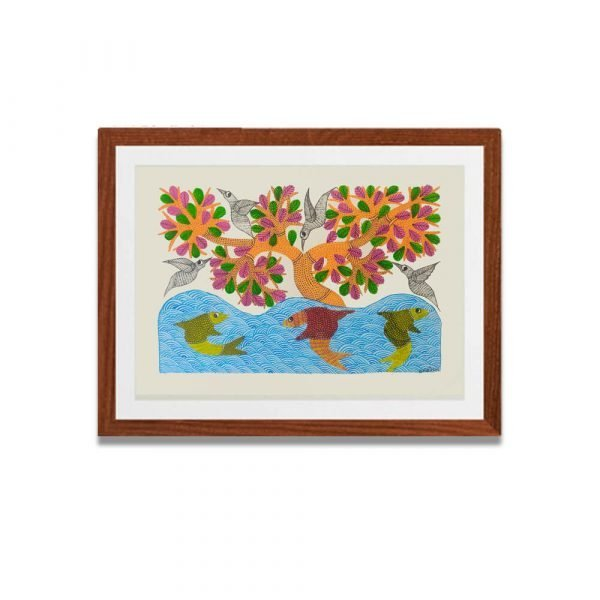 Fishes Gond Painting