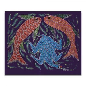 Fishes and Bird Bhil Painting
