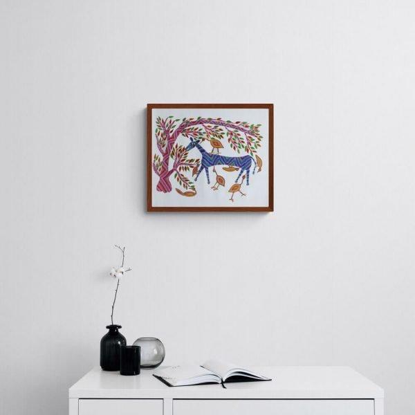 Horse and Birds Bhil Art