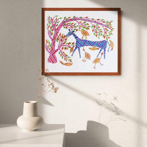 Horse and Birds Pithora Art