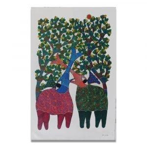 Playful Elephants Gond Art