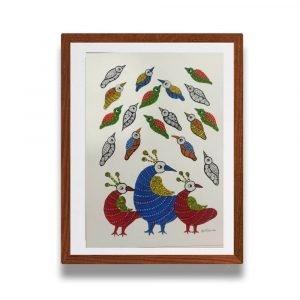 Three Birds Gond Painting