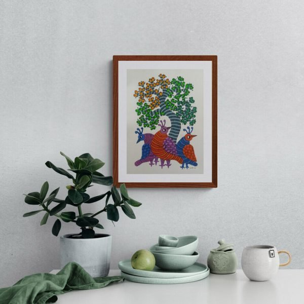 Three Colourful Birds Paper Gond Painting