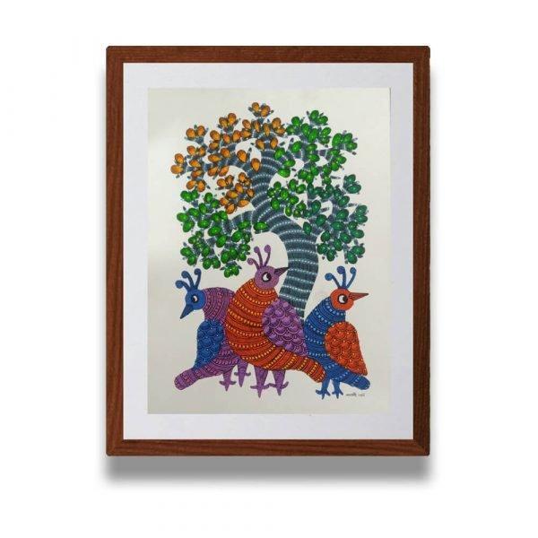 Three Colourful Birds Wall Art