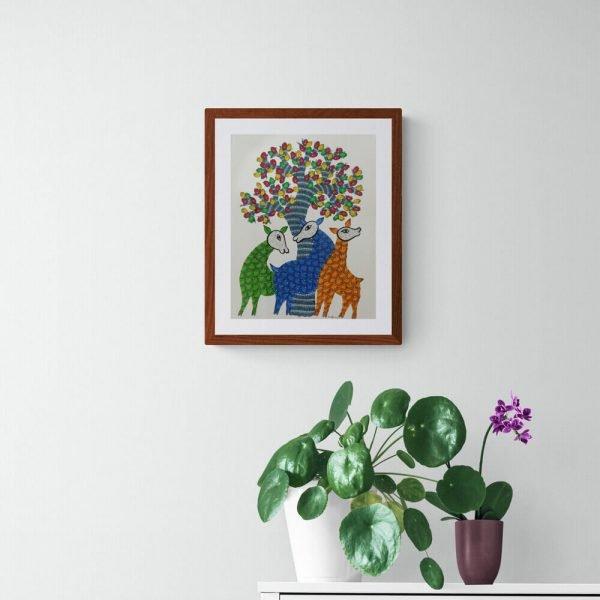 Three Deer Framed Painting