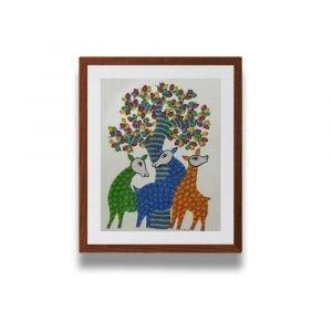 Three Deer animal Gond Painting