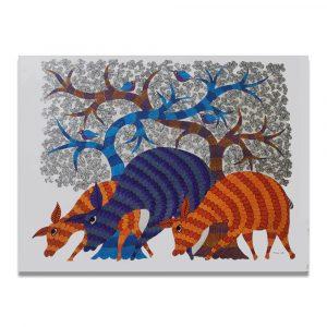 Three Deer gond art