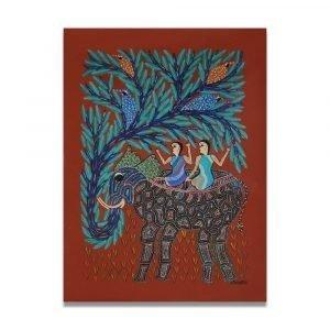 Tribes riding elephant pithora art