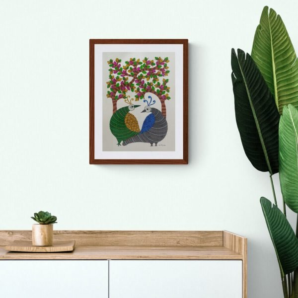 Two Birds Gond Painting