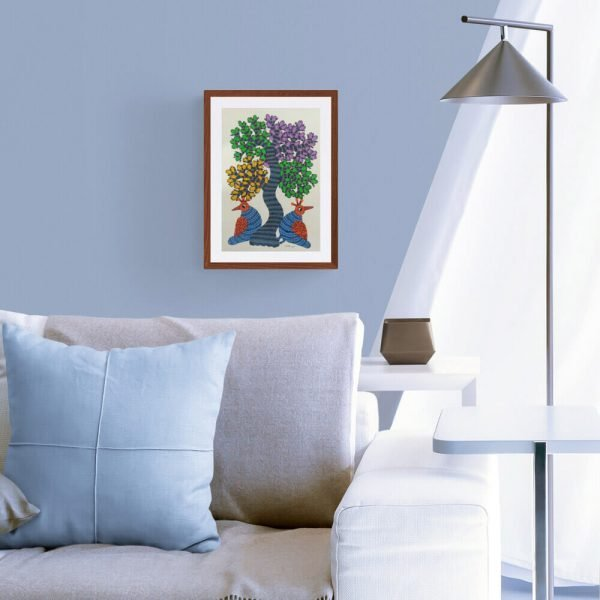 Two Birds Under a Tree Framed Painting