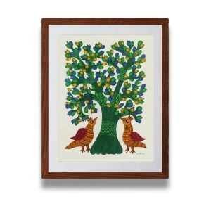 Two Golden Bird Gond Painting