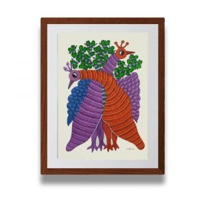Two Peacock Paper Gond Painting