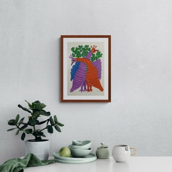 Two Peacock Paper Tribal Painting
