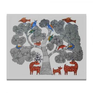 Deer family under a Tree Canvas Painting