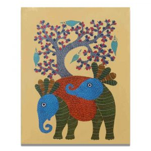 Elephants in the forest canvas painting
